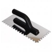 Гладилка нержавеющая, 270мм, зуб 10*10 мм, пластиковая ручка