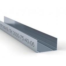 Профиль для гипсокартона направляющий UW 75/40, толщ. 0,6мм, 3 метра